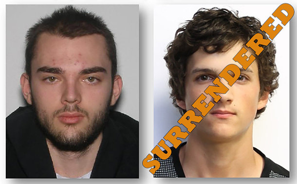 "Side by side close up photos of two man. Text ""surrendered"" written over the photo on the right"