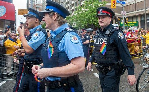 An officer in uniform walking