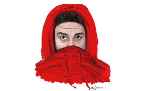 A close up drawing of a man in a hood