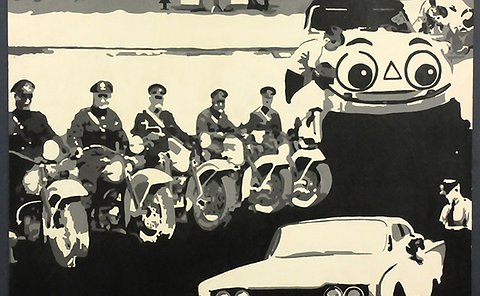 A collage of photos in black and white drawings with a building, a line of officers on motorcycles, several other vehicles and a line of tow trucks