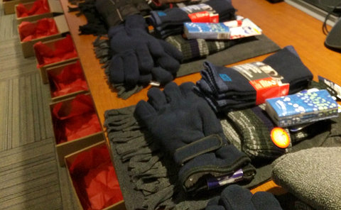 A table of gloves and socks