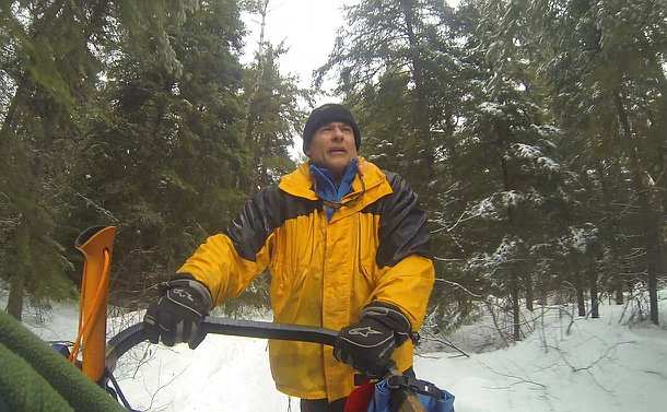 Looking up at a man holding a dogsled in a treed setting