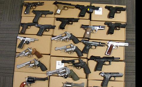 Handguns on boxes