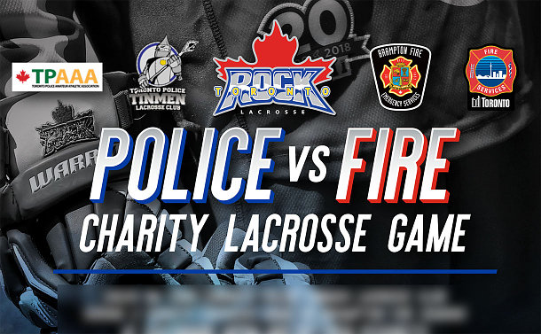 A poster with TPS, Brampton Fire, Toronto Rock and TPAAA logos and police vs fire