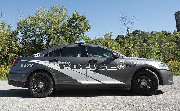 A grey police car