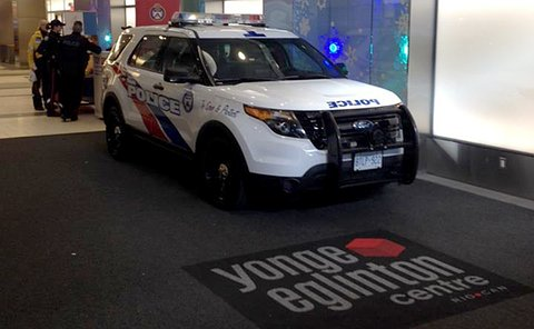 A TPS SUV parked in a mall