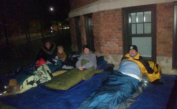 People in sleeping bags