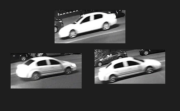Collage of three images depicting a white vehicle viewed from the side on a city street at night
