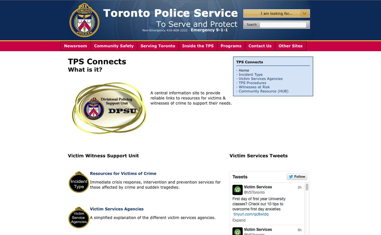 A website with Toronto Police Service banner