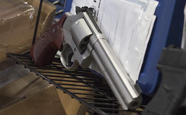 A silver handgun