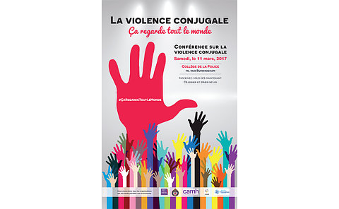 Domestic Violence – It's Everybody's Business. Speak Up! poster with TPS, CAMH, Centre Francophonie, Oasis logos with text: at the Toronto Police College (70 Birmingham Street) on Saturday, March 11, from 8 a.m. to 4 p.m.