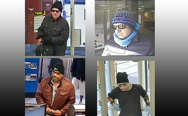 Four surveillance images of men