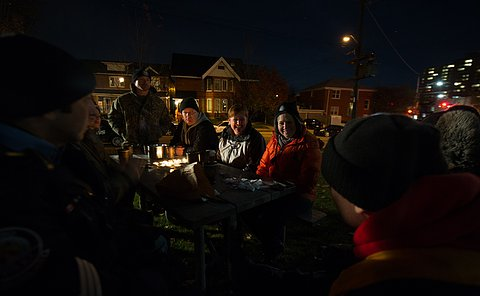 Robert Tajti, Jason Waters, Linda Martin and Sarah Doucette share a few stories and laughs around a 'campfire'.