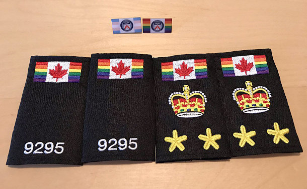 TPS epaulettes and pins on a table