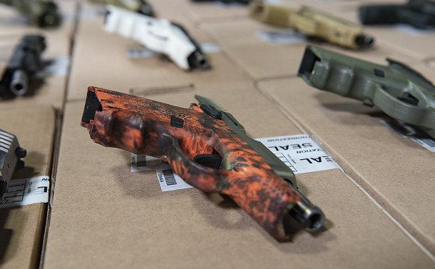 A table of handguns