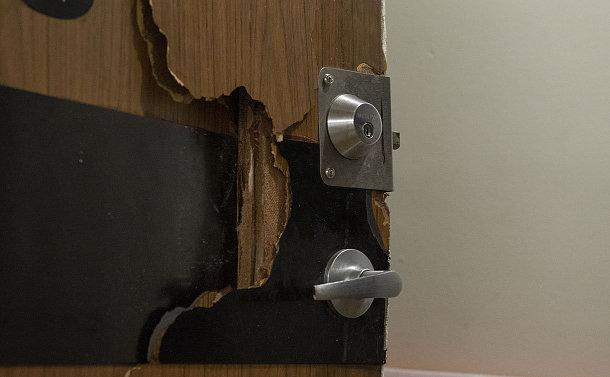 A broken door