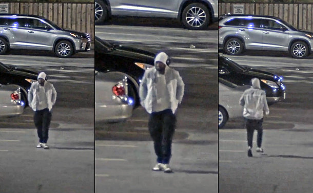Three images of a man in a parking lot